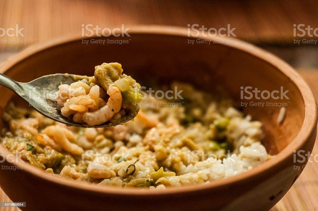 seafood casserole stock photo