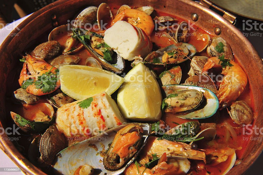 Seafood Cataplana - a Portuguese fish stew. royalty-free stock photo