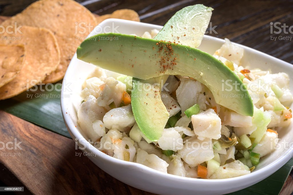 Seafood Ceviche and tostadas stock photo