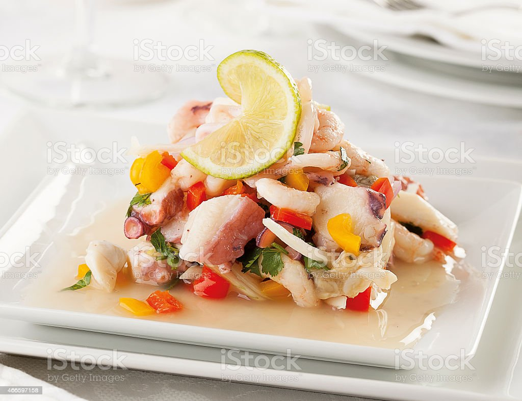 Seafood ceviche stock photo