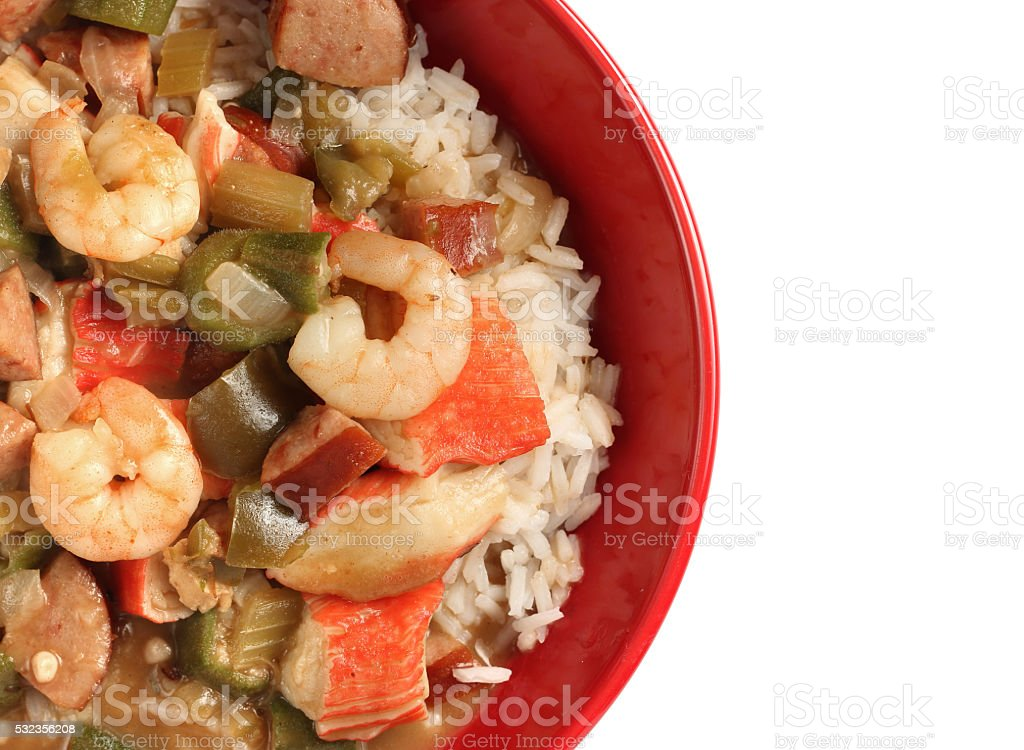 Seafood, Chicken and Sausage Gumbo stock photo