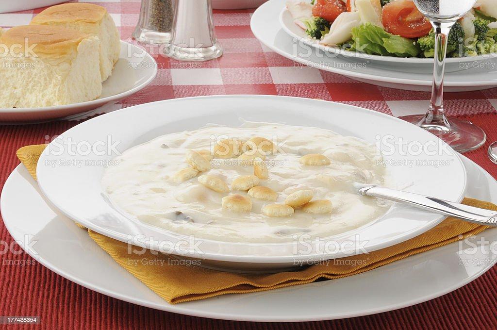 Seafood chowder stock photo