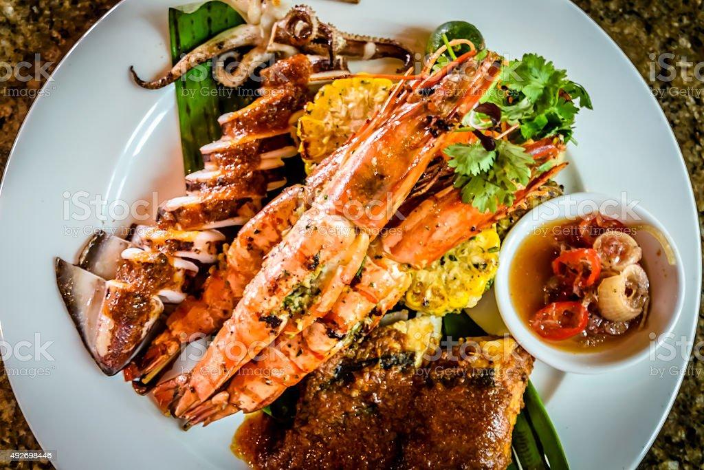 BBQ Seafood combo stock photo
