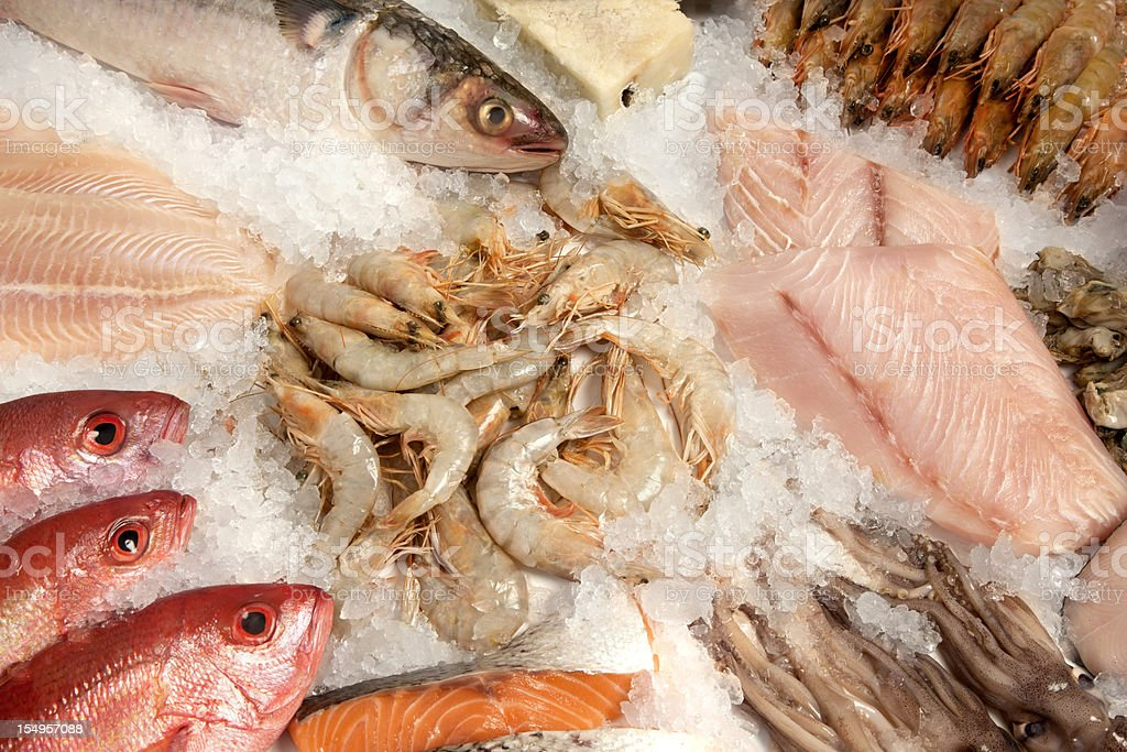 Seafood composition stock photo