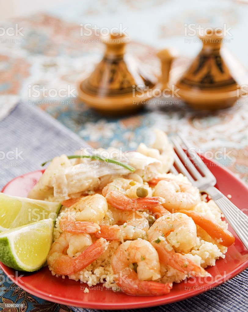 Seafood couscous stock photo