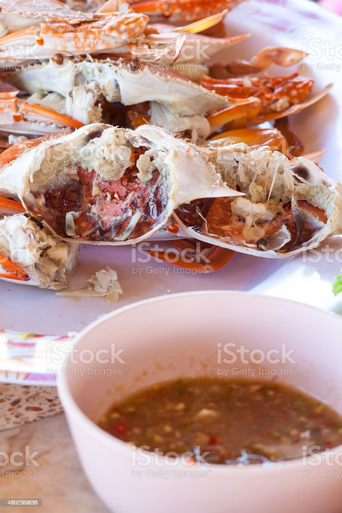 Seafood crab a restaurant in Thailand stock photo