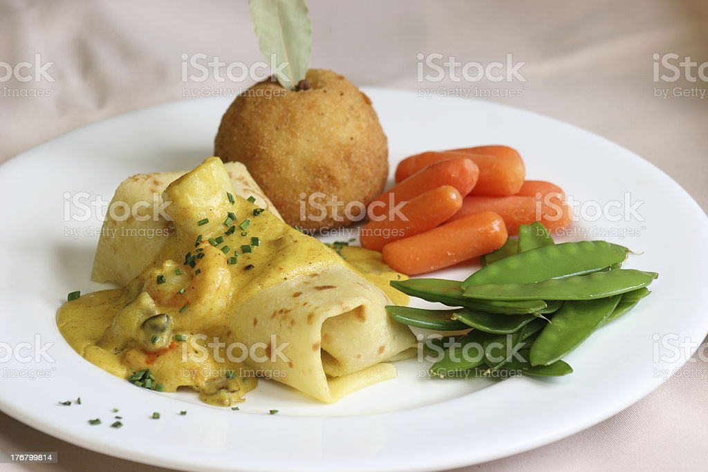 Seafood Crepe royalty-free stock photo