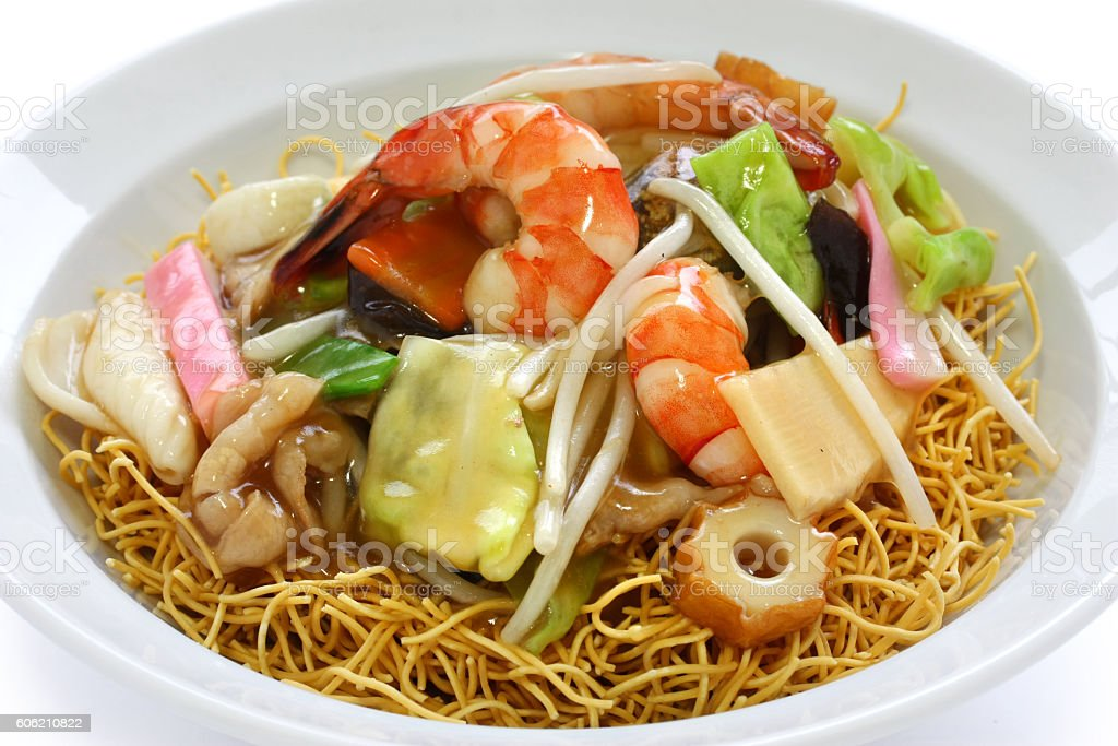 seafood crispy pan fried noodles, sara udon, japanese chinese cuisine stock photo