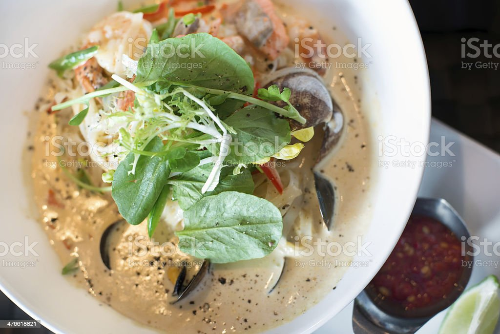 Seafood Curry on Rice Noodles royalty-free stock photo