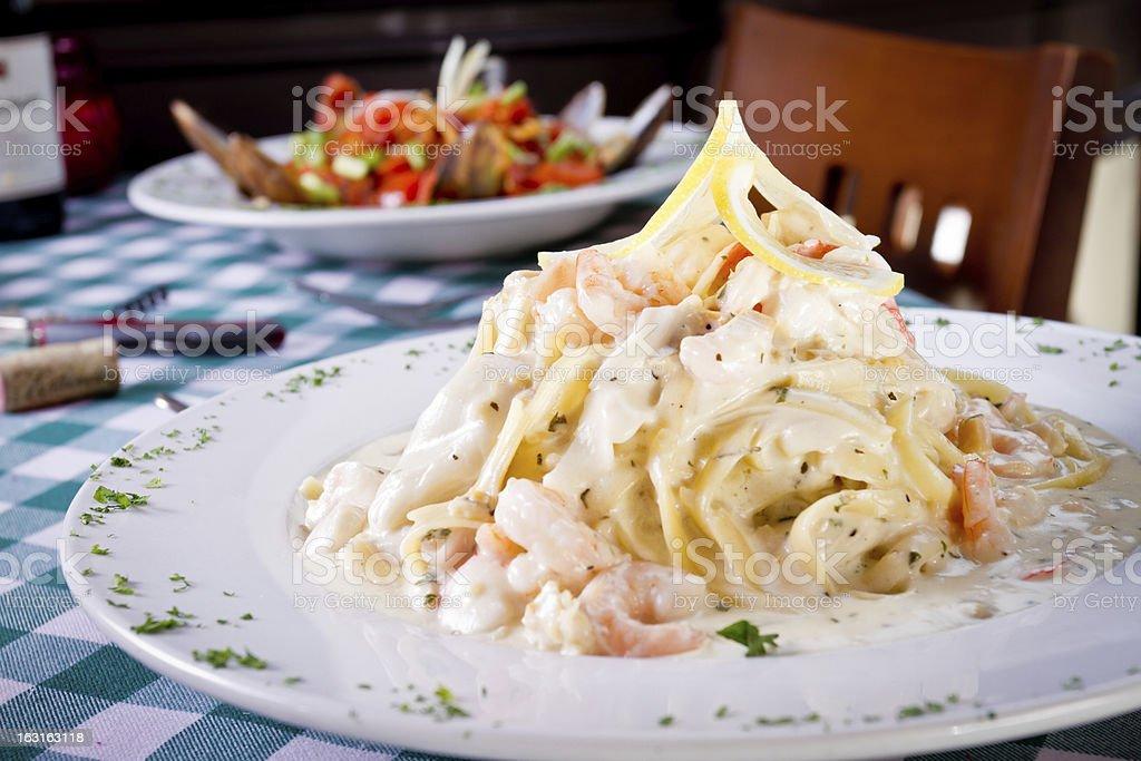Seafood Fettuccine Alfredo royalty-free stock photo