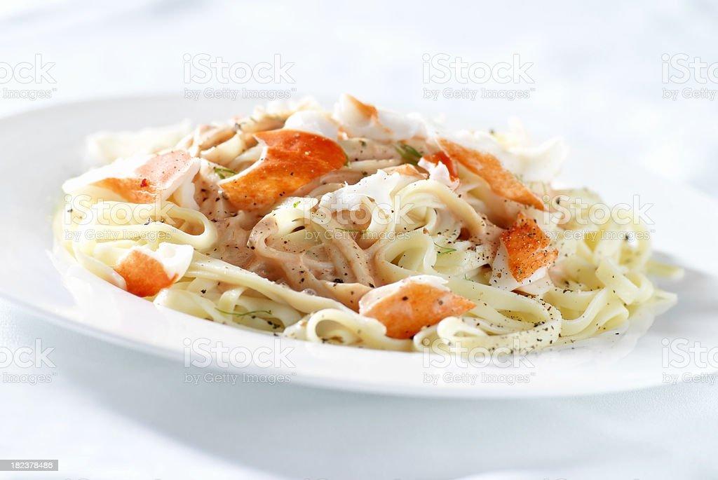 Seafood Fettuccini royalty-free stock photo