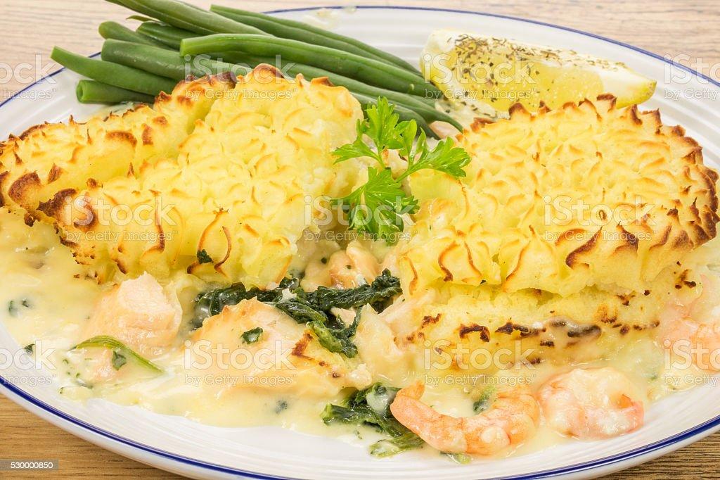Seafood fish pie stock photo