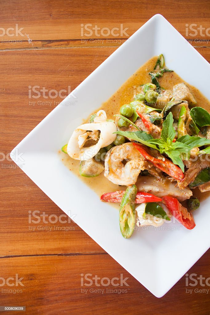 seafood green curry stock photo