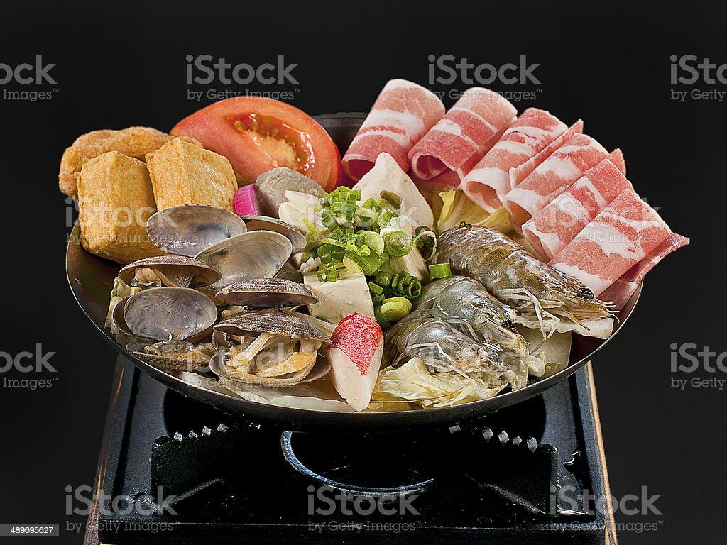 Seafood Hot Pot Asian Shabushabu stock photo