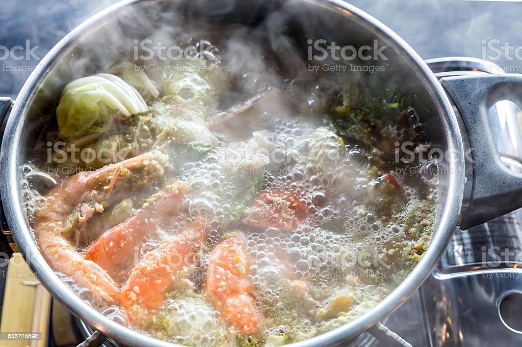 Seafood hot pot stock photo