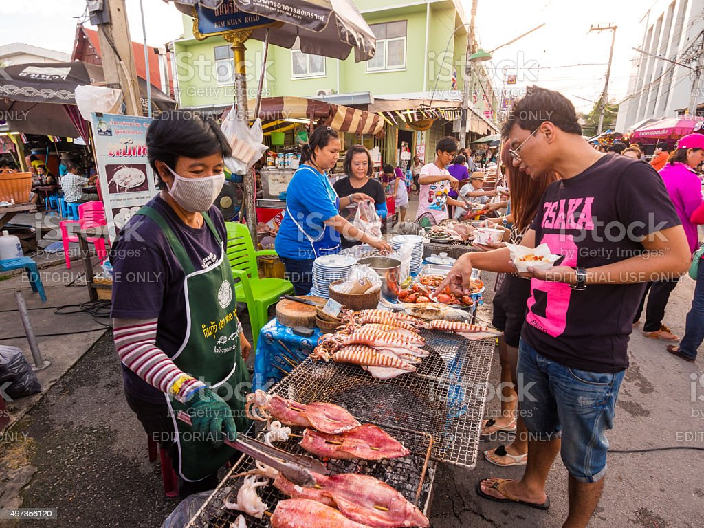 Seafood in Amphawa district in Samut Songkhram, Thailand stock photo
