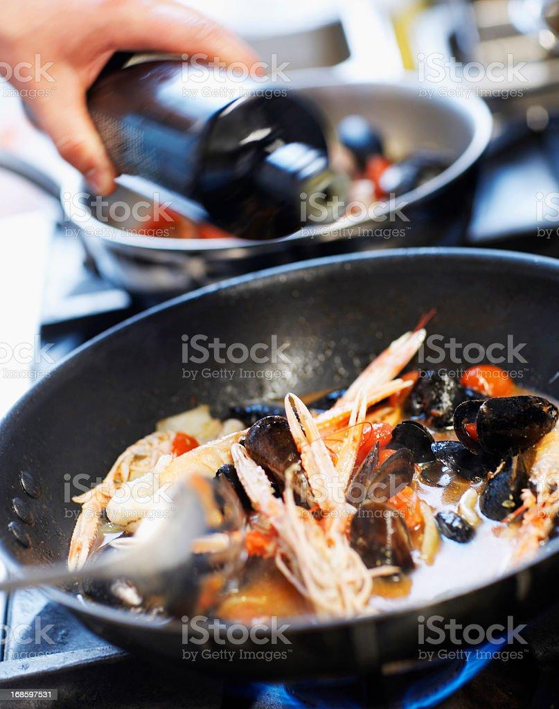 Seafood in pan stock photo