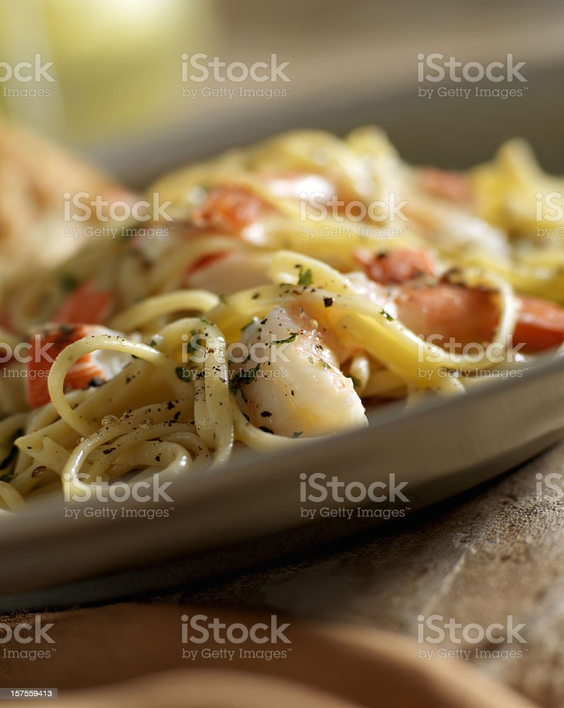 Seafood Lemon Pepper Linguini stock photo