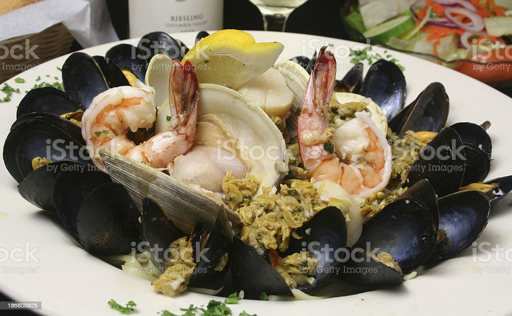 Seafood Linguine royalty-free stock photo