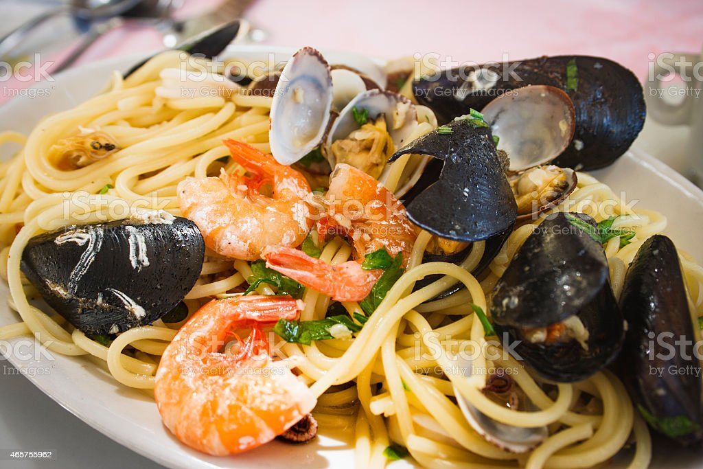 Seafood linguine stock photo