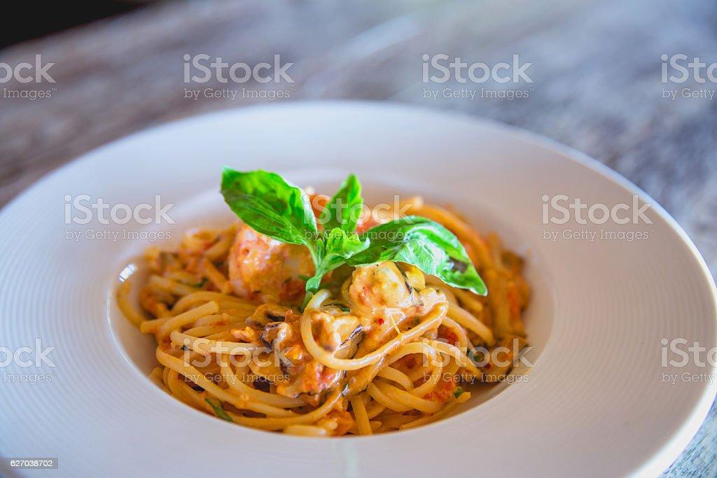 Seafood linguini pasta stock photo