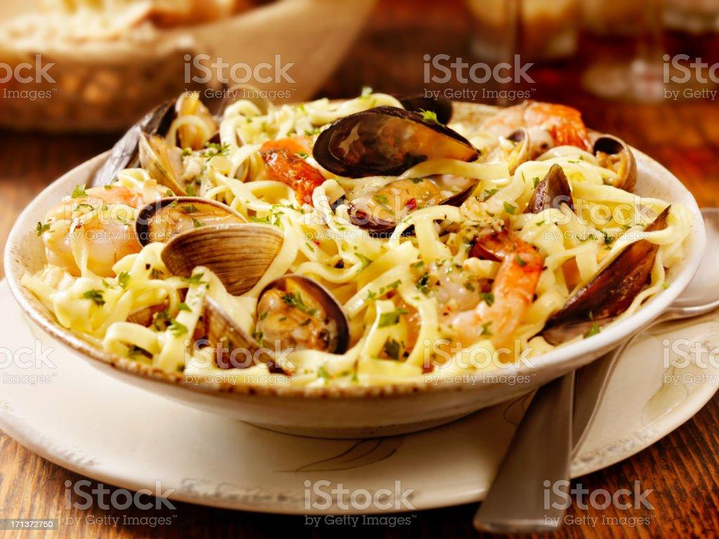 Seafood Linguini royalty-free stock photo