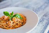 Seafood linguini tomato sauce