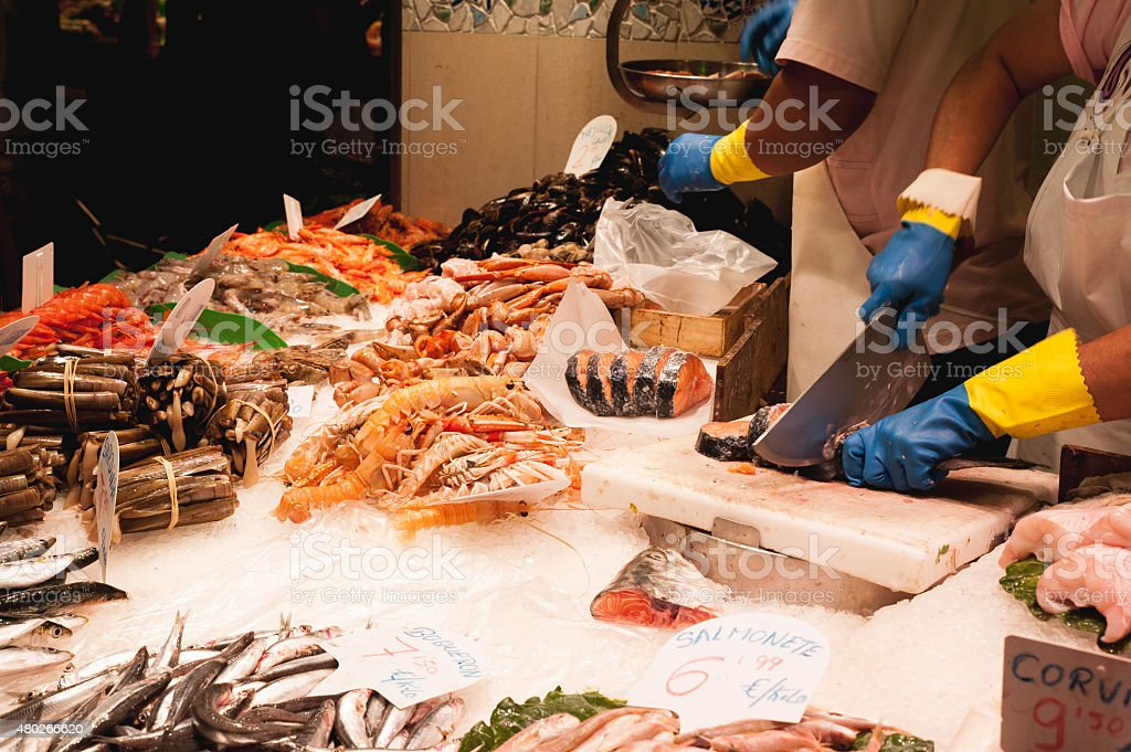Seafood Market and fish vendor stock photo