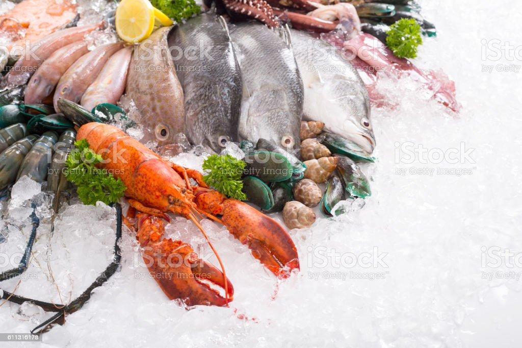 Seafood market fresh food sea stock photo