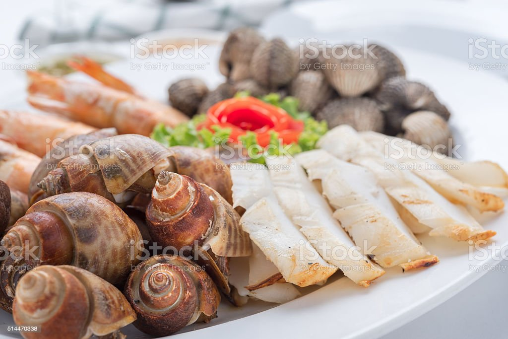 Seafood mix roasted stock photo