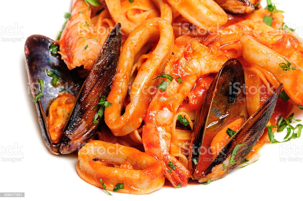 Seafood mixed saute stock photo