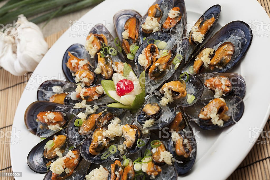 Seafood Mussels royalty-free stock photo