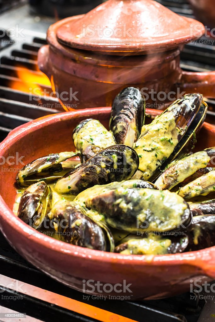 Seafood -  Mussels with creamy sauce stock photo