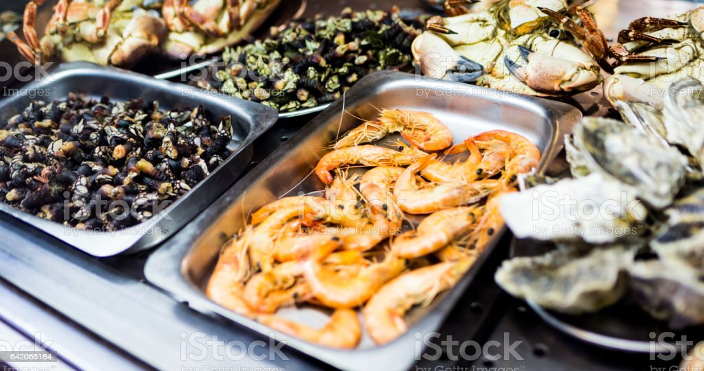 Seafood on restaurant window stock photo
