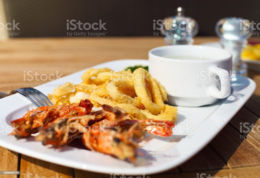 Seafood on the plate in restarant stock photo