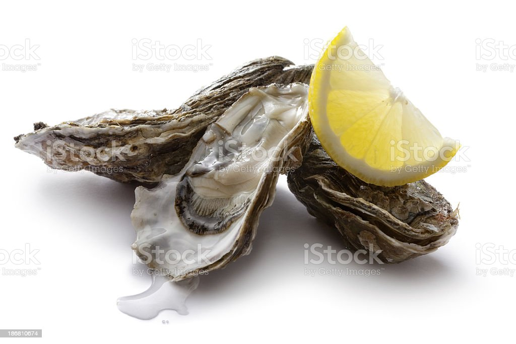 Seafood: Oysters and Lemon royalty-free stock photo