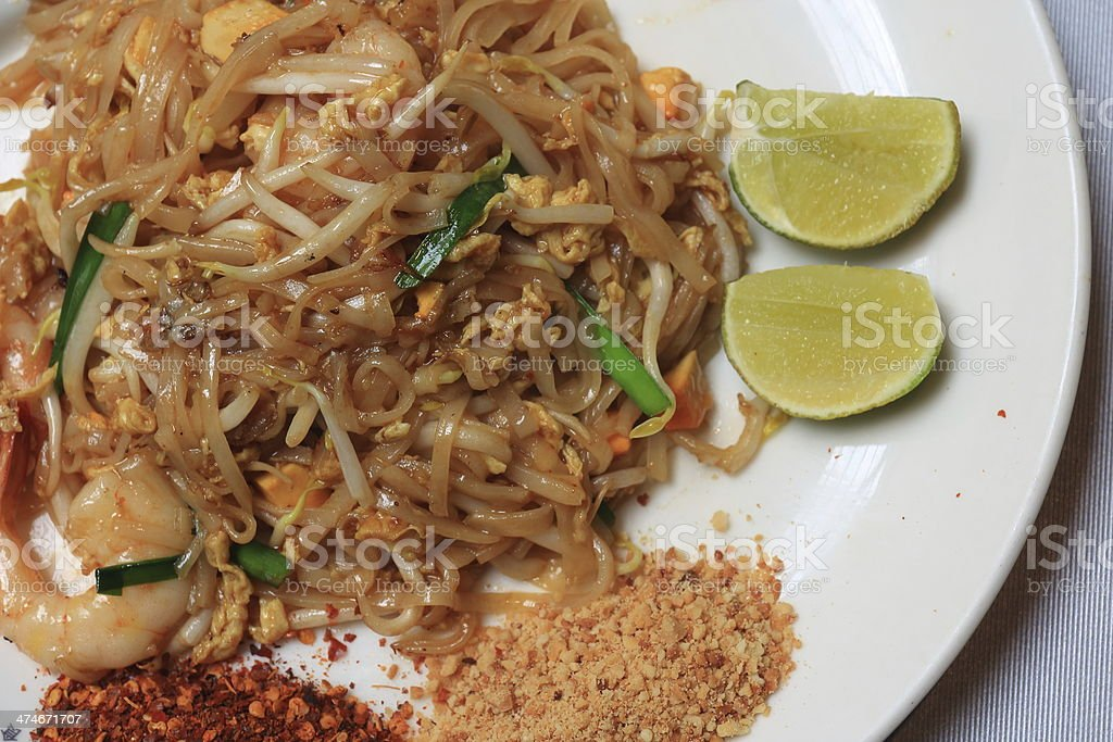 Seafood Pad Thai Fried Rice Noodles. stock photo
