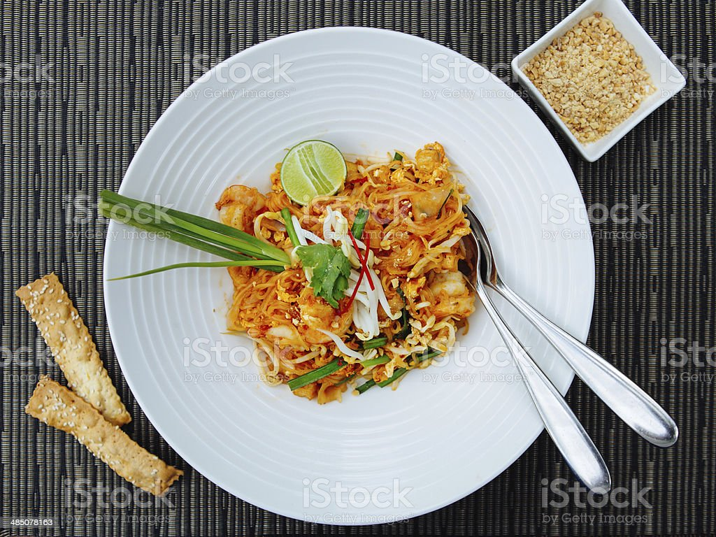 Seafood Pad Thai with Stir Fried Rice Noodles stock photo