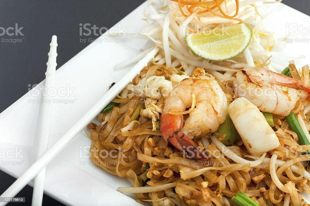 Seafood pad with Thai fried rice noodles stock photo
