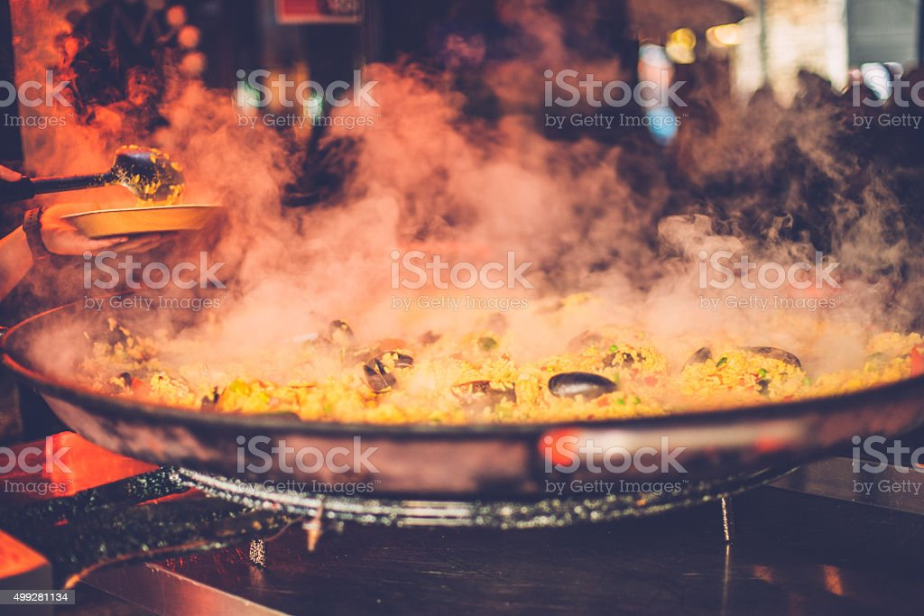 Seafood Paella in a Pan at Camden Market, London, UK stock photo