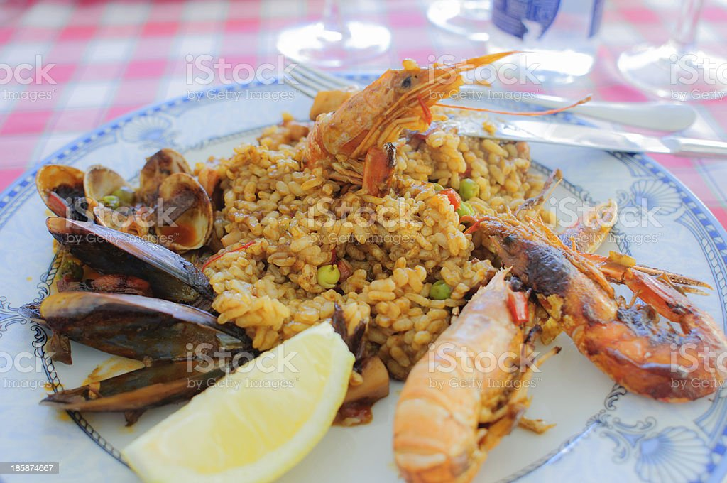 Seafood paella royalty-free stock photo