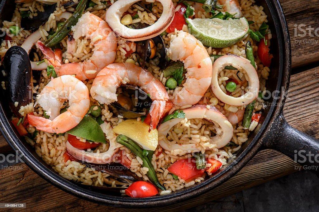 Seafood Paella stock photo