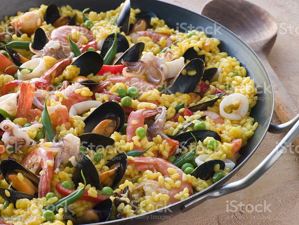 Seafood Paella stock photo