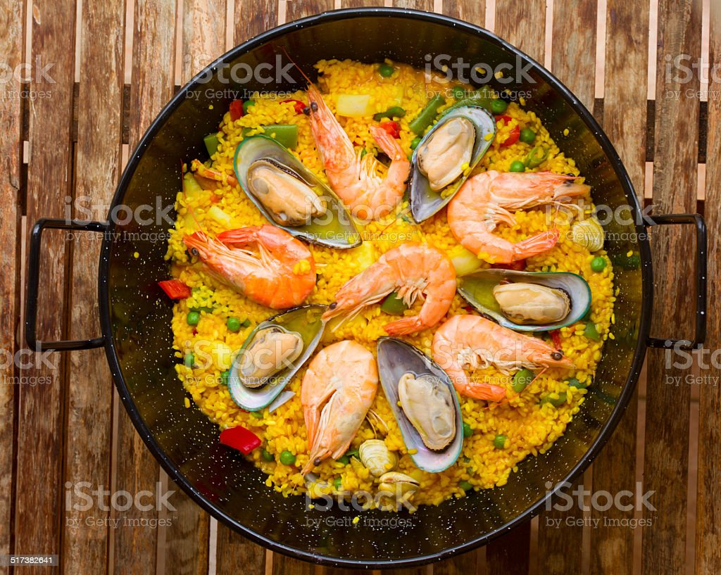 Seafood Paella  -traditional spanish dish stock photo
