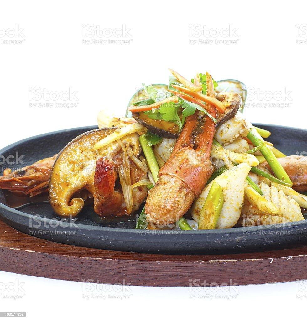 seafood pan fried royalty-free stock photo