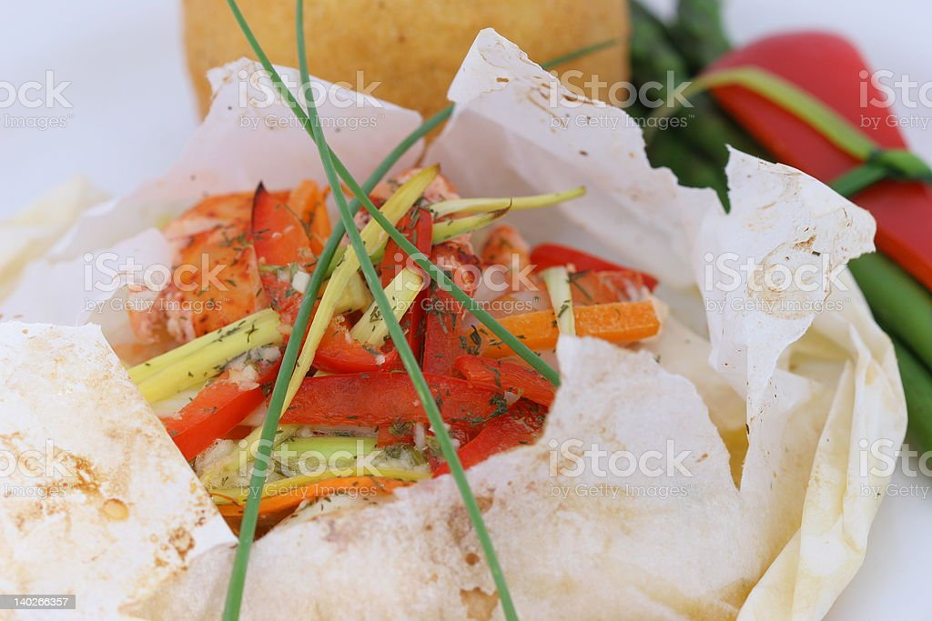 Seafood Papillote stock photo
