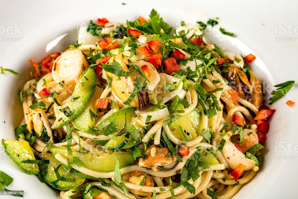Seafood pasta stock photo