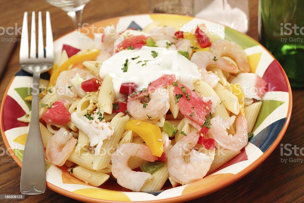 Seafood pasta salad stock photo
