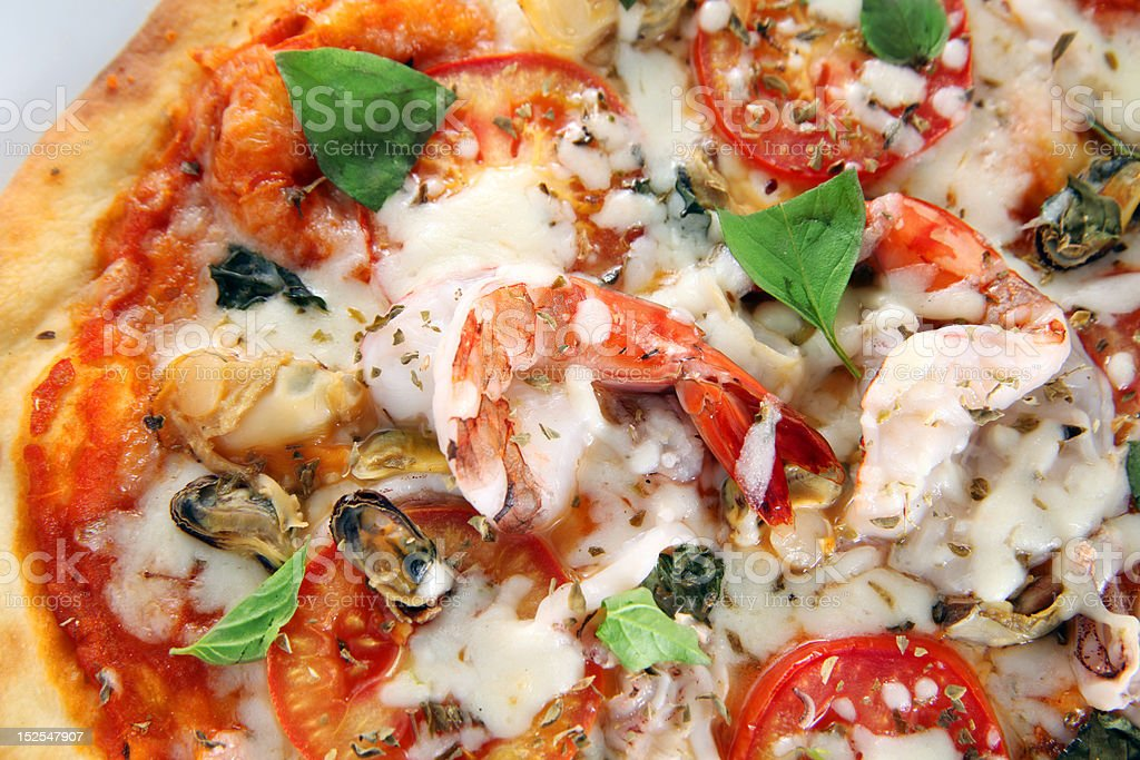 seafood pizza stock photo