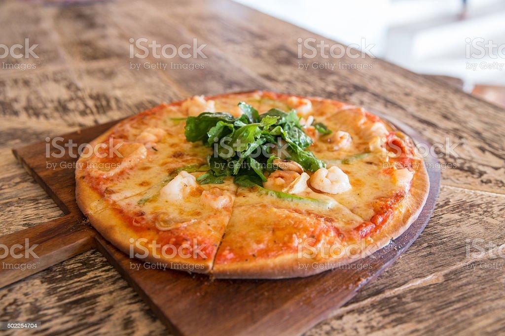 Seafood pizza stock photo